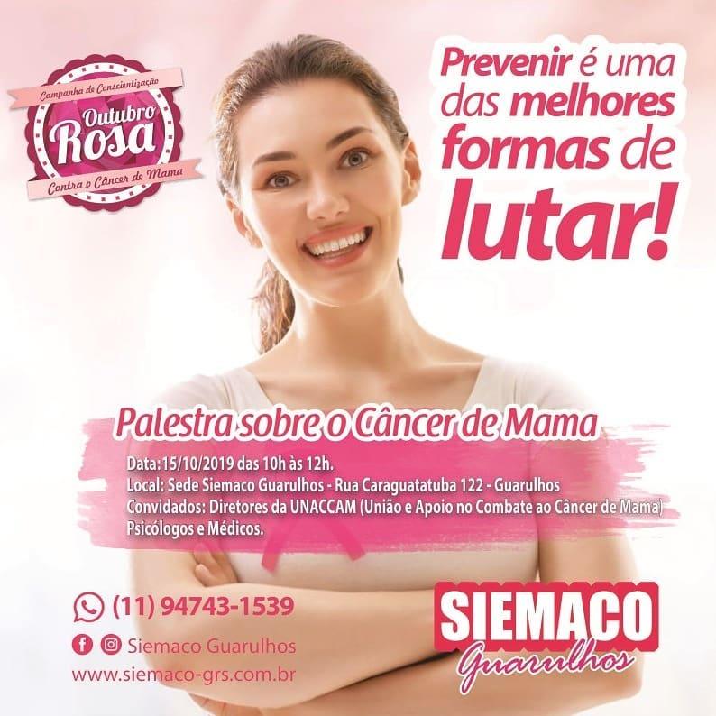 Siemaco Guarulhos prepara palestra sobre a prevenção e diagnóstico do Câncer de Mama
